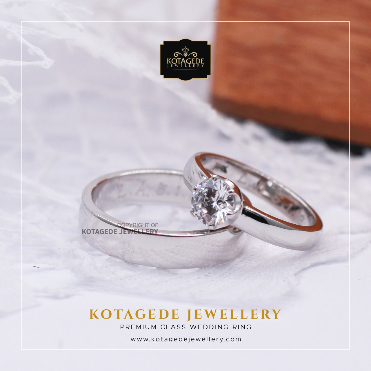 Cincin Kawin Tunangan Palladium Platinum Couple Solitare PD0002PT