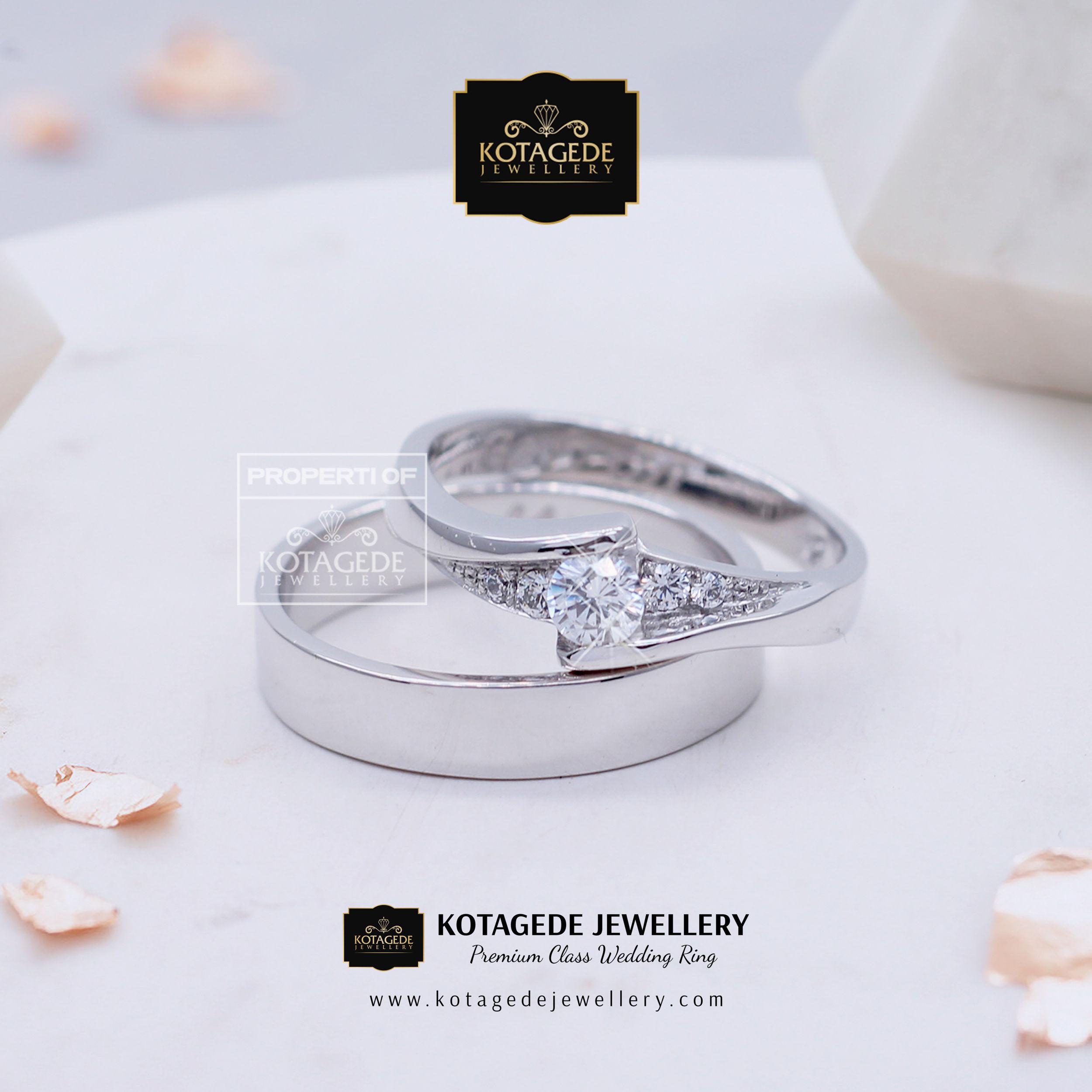 Cincin Kawin Tunangan Platinum Emas Putih PT0012WG