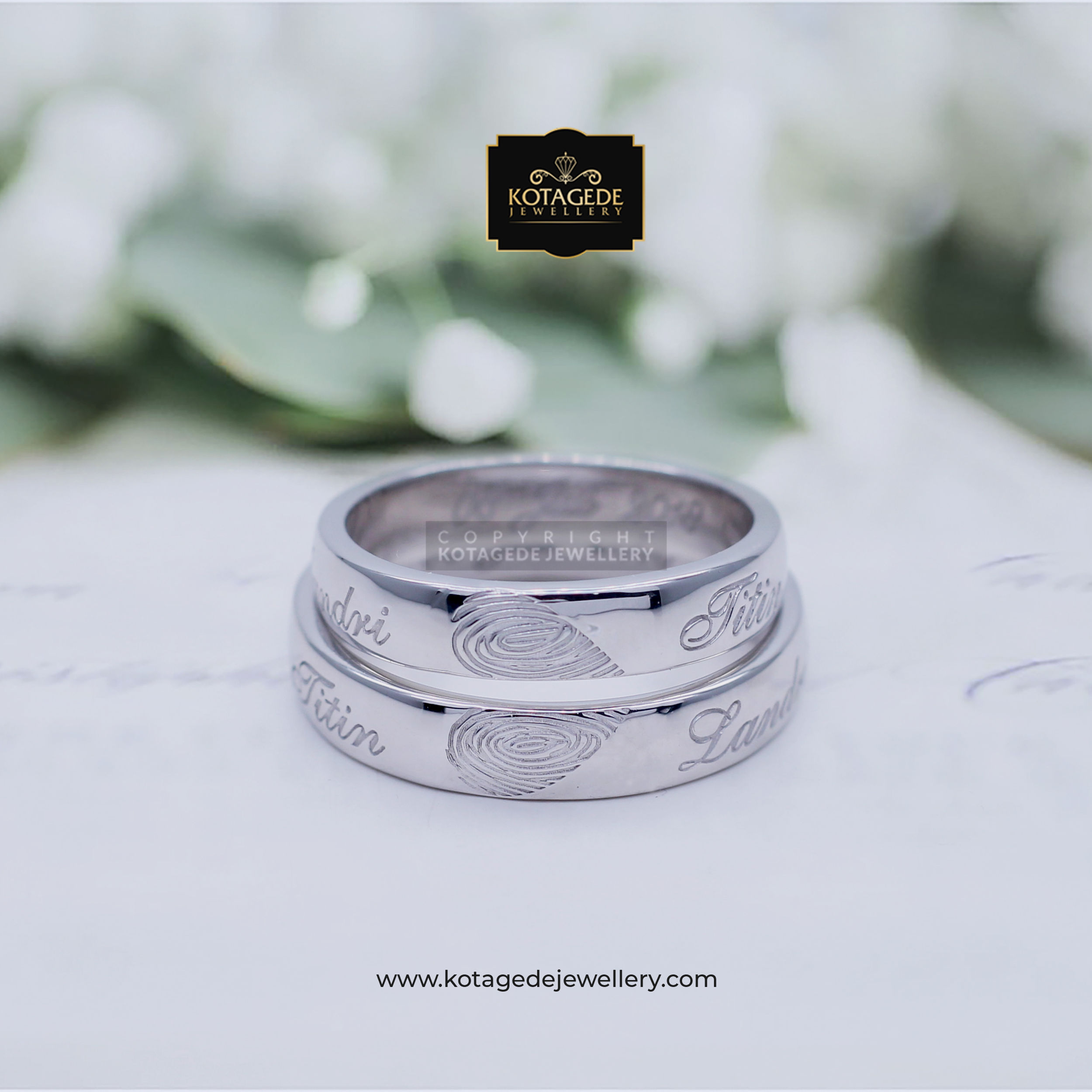 Cincin Kawin Tunangan Platinum Palladium Heart Fingerprint PT0006PD