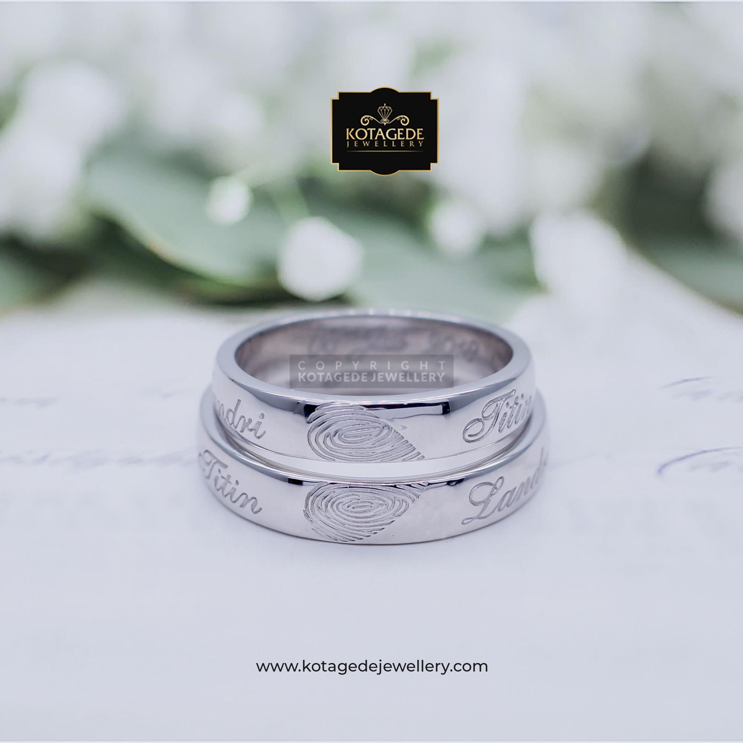 Cincin Kawin Tunangan Platinum Palladium Heart Fingerprint PT0006PD