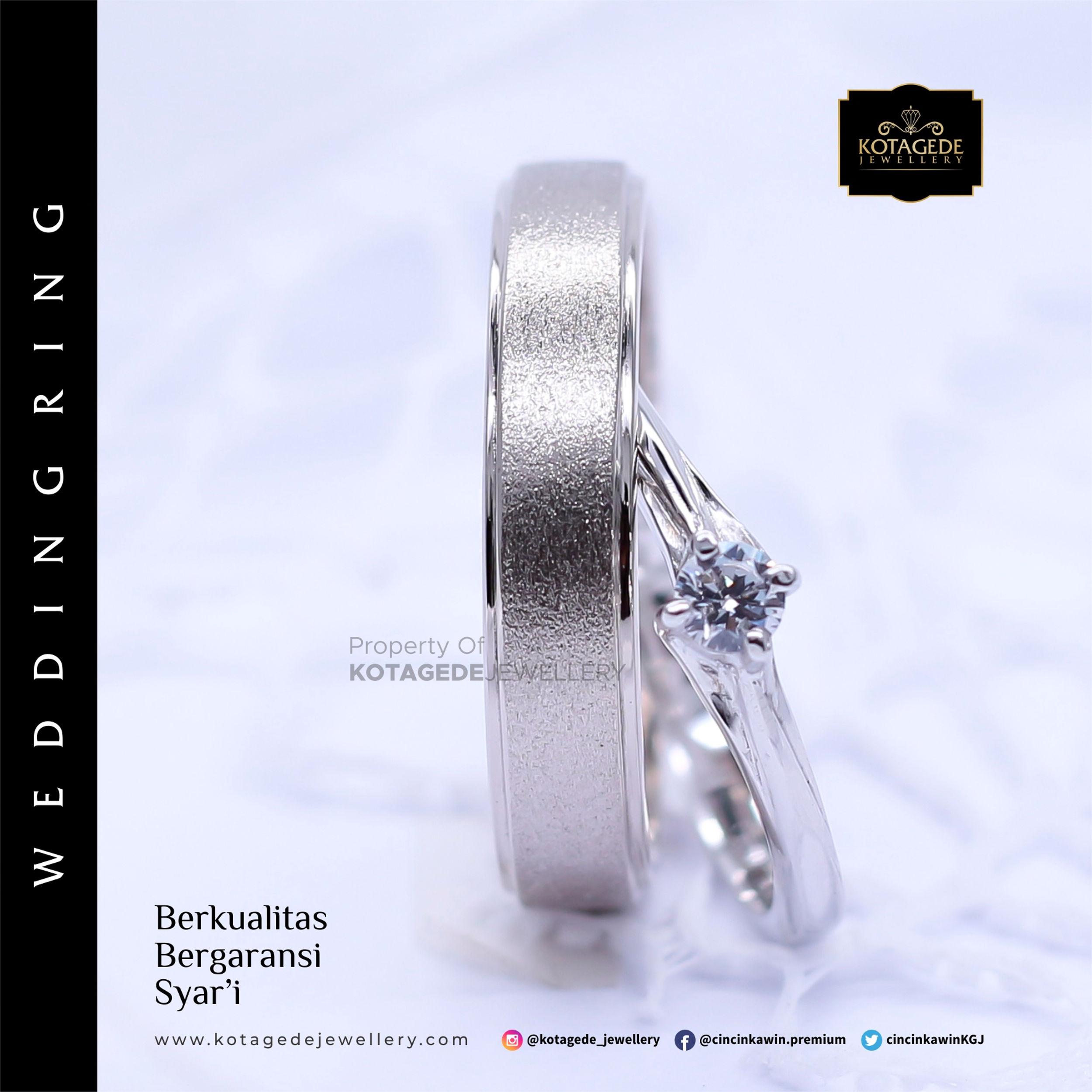 Cincin Kawin Tunangan Platinum Emas Putih PT0015WG