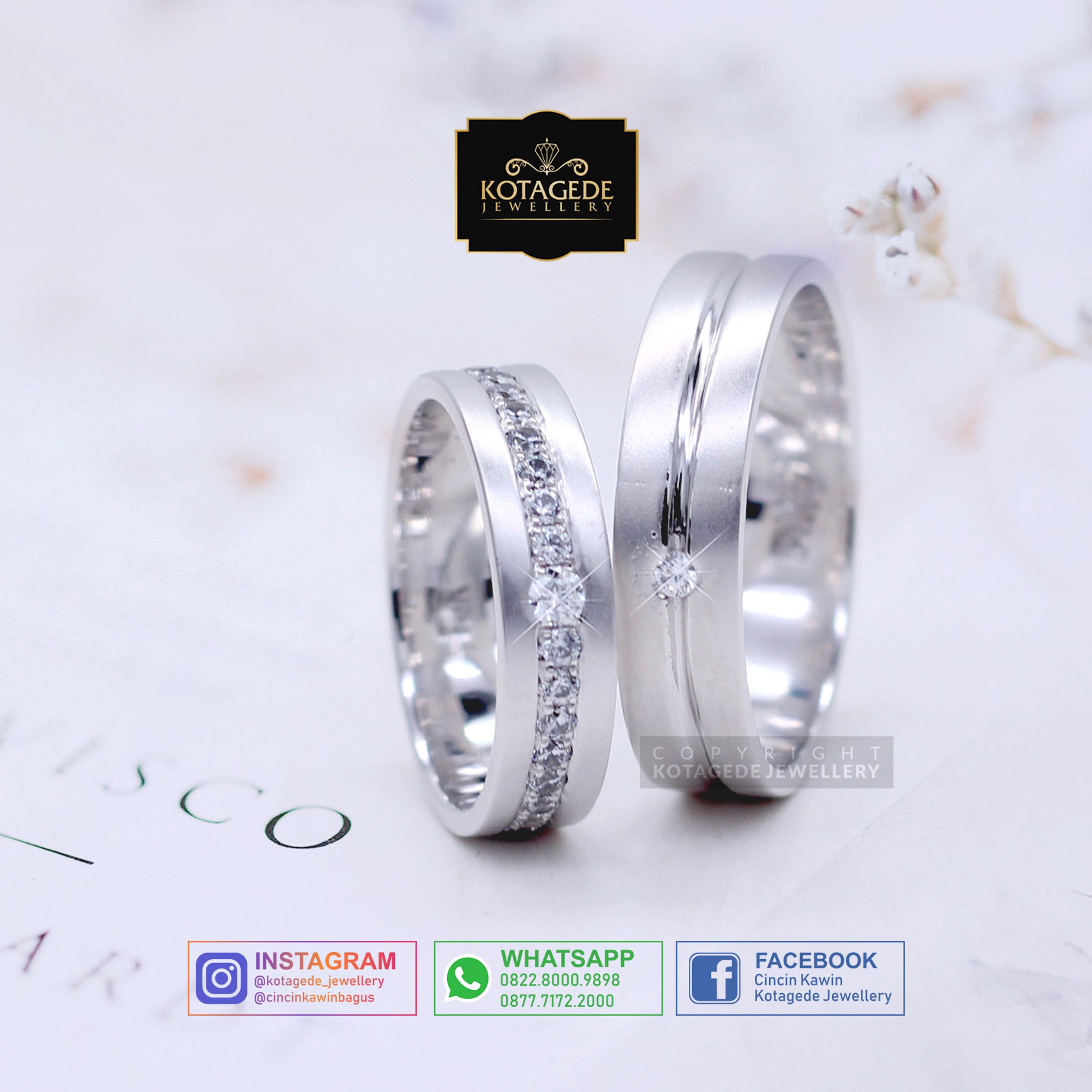 Cincin Kawin Tunangan Platinum Emas Putih PT0018WG
