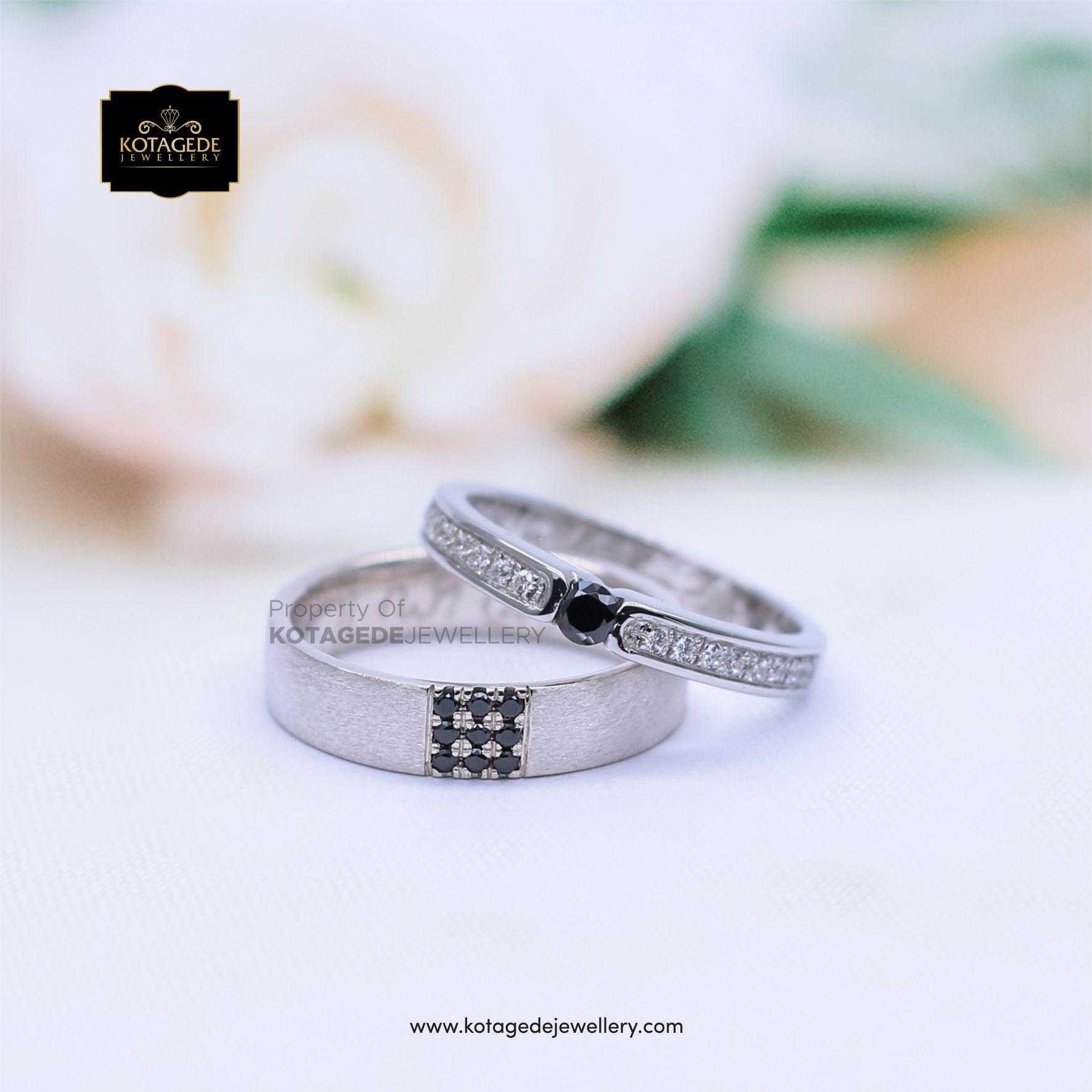 Cincin Kawin Tunangan Couple Platinum Palladium Black Diamond PT0046PD