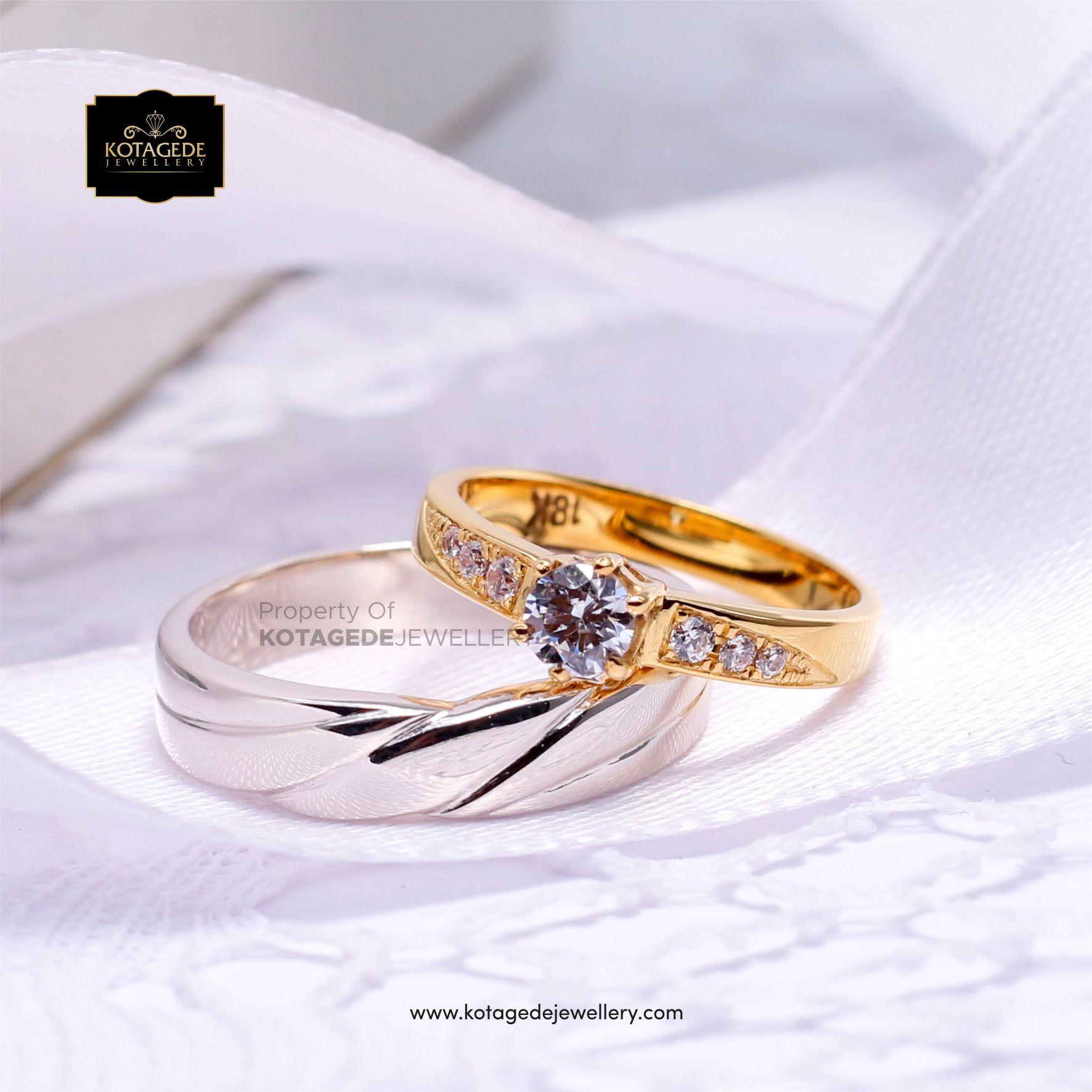 Cincin Kawin Tunangan Elegant Platinum Emas Kuning PT0041YG