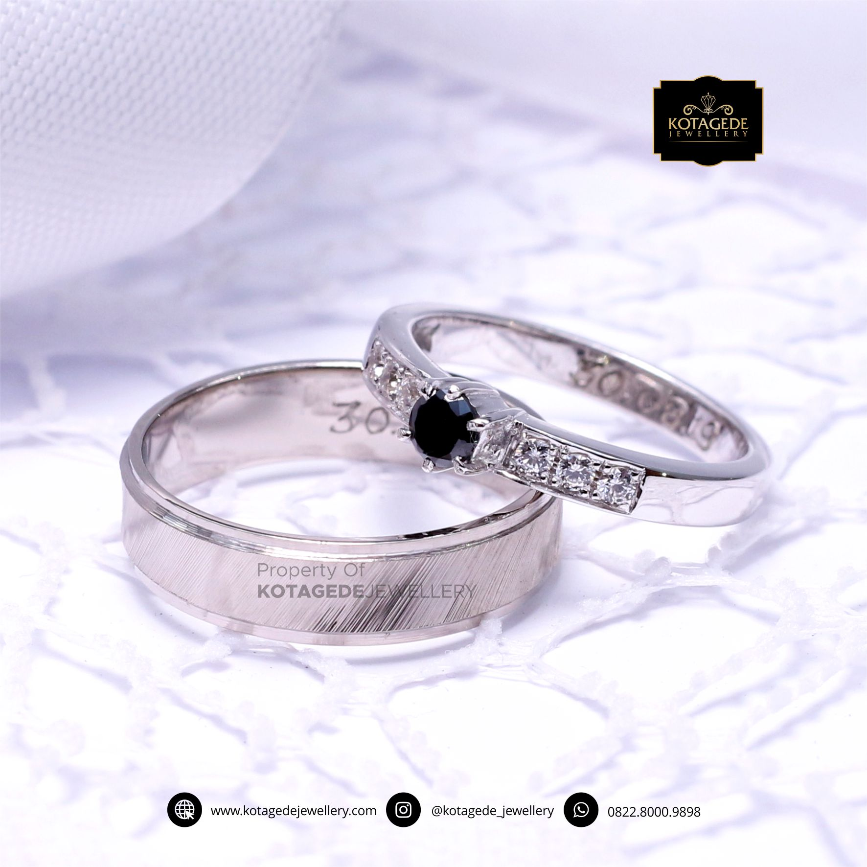 Cincin Kawin Tunangan Palladium Platinum Black Diamond PD0051PT
