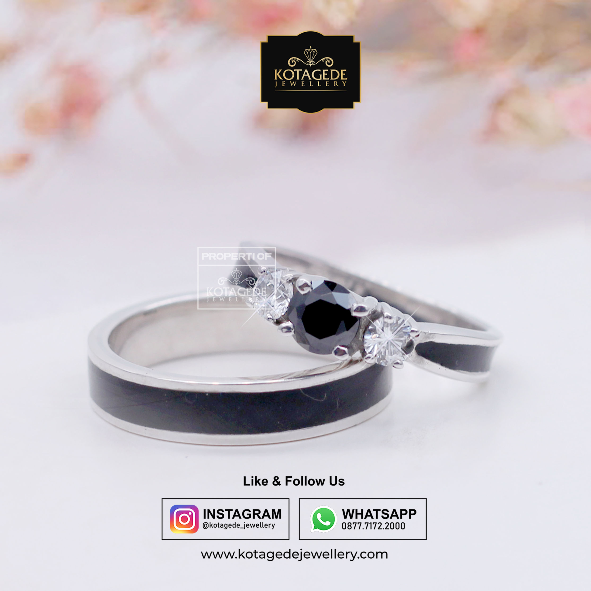 Cincin Kawin Tunangan Platinum Black Diamond PT0027PT