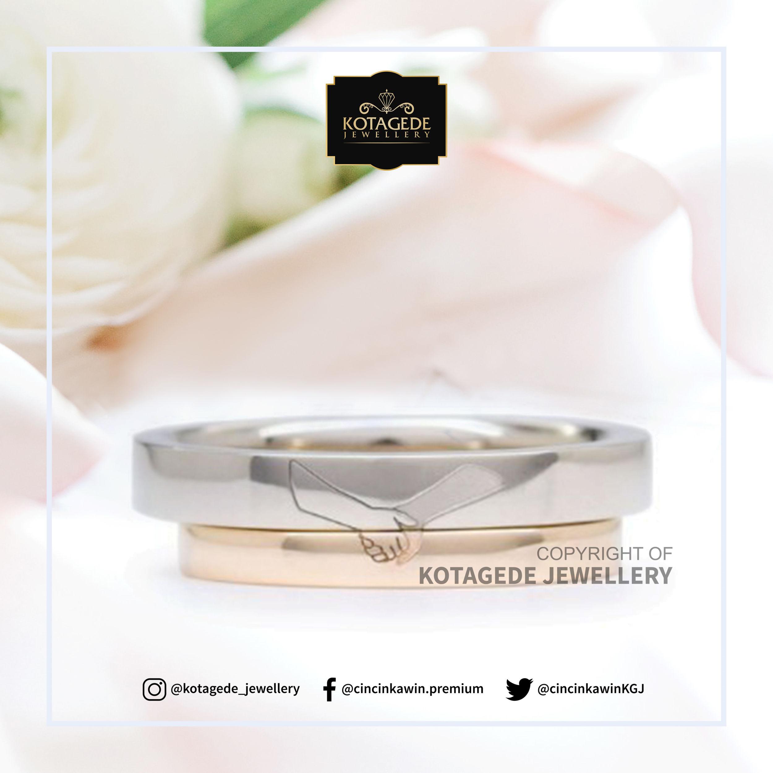Cincin Kawin Tunangan Platinum Emas Kuning Simpel PT0029YG