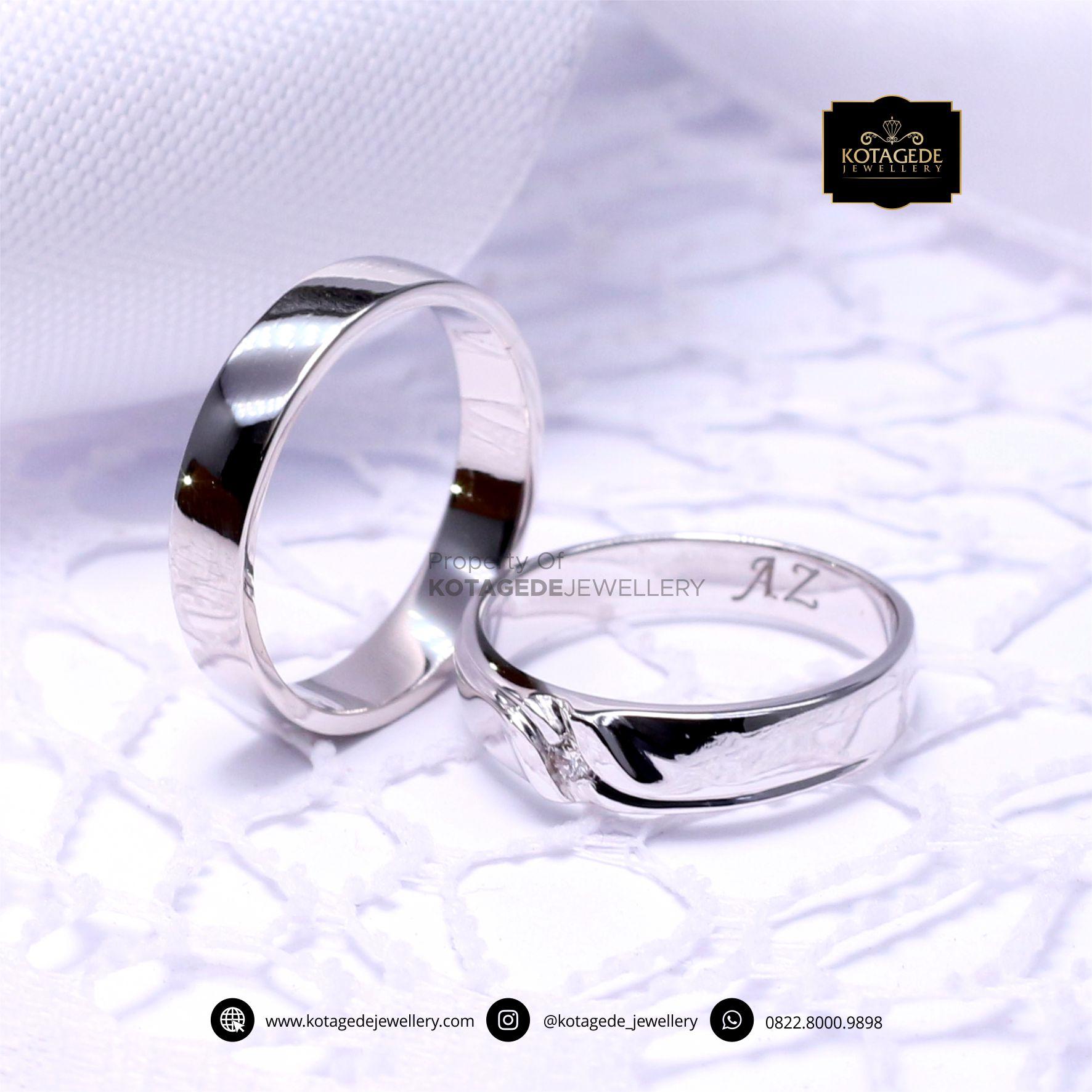 Cincin Kawin Tunangan Platinum Emas Putih PT0052WG
