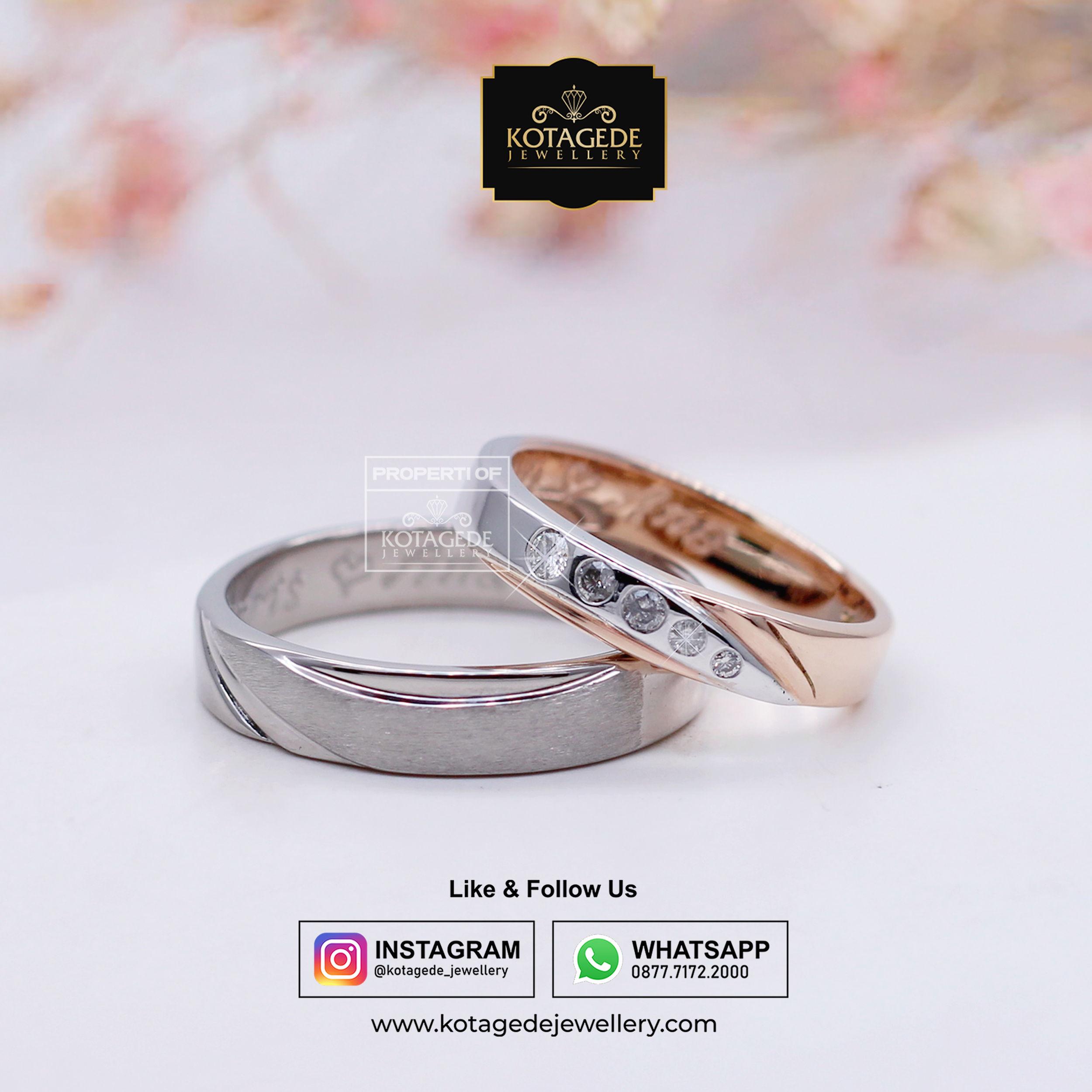 Cincin Kawin Tunangan Platinum Rose Gold PT0028RG