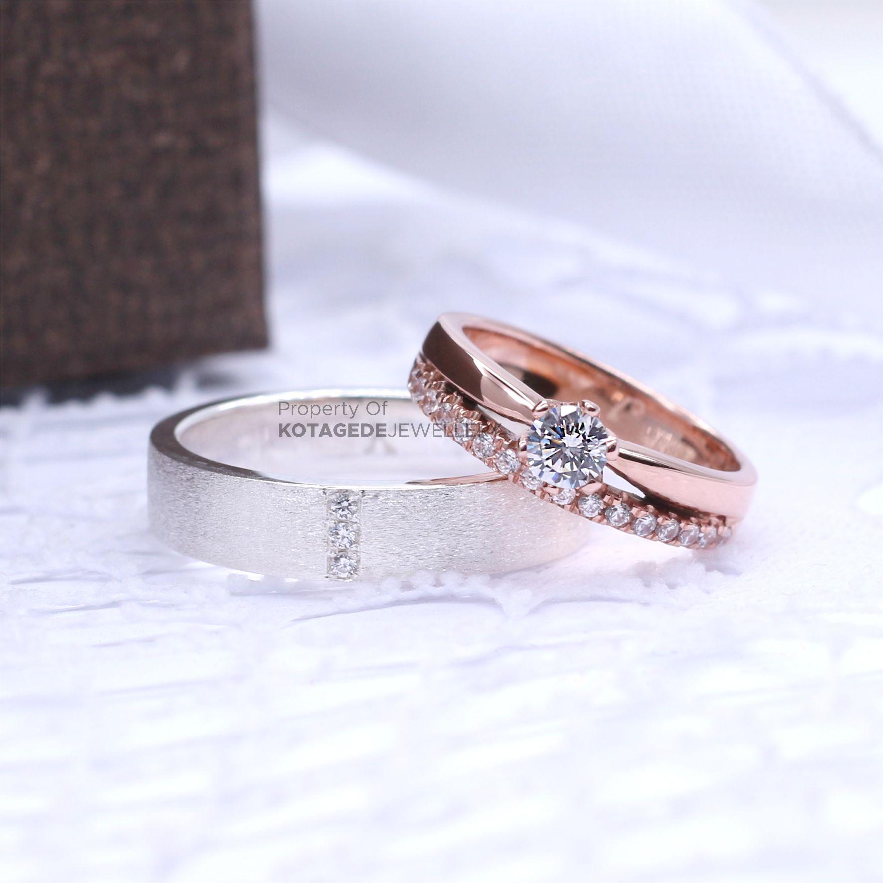 Cincin Kawin Tunangan Platinum Rose Gold PT0043RG
