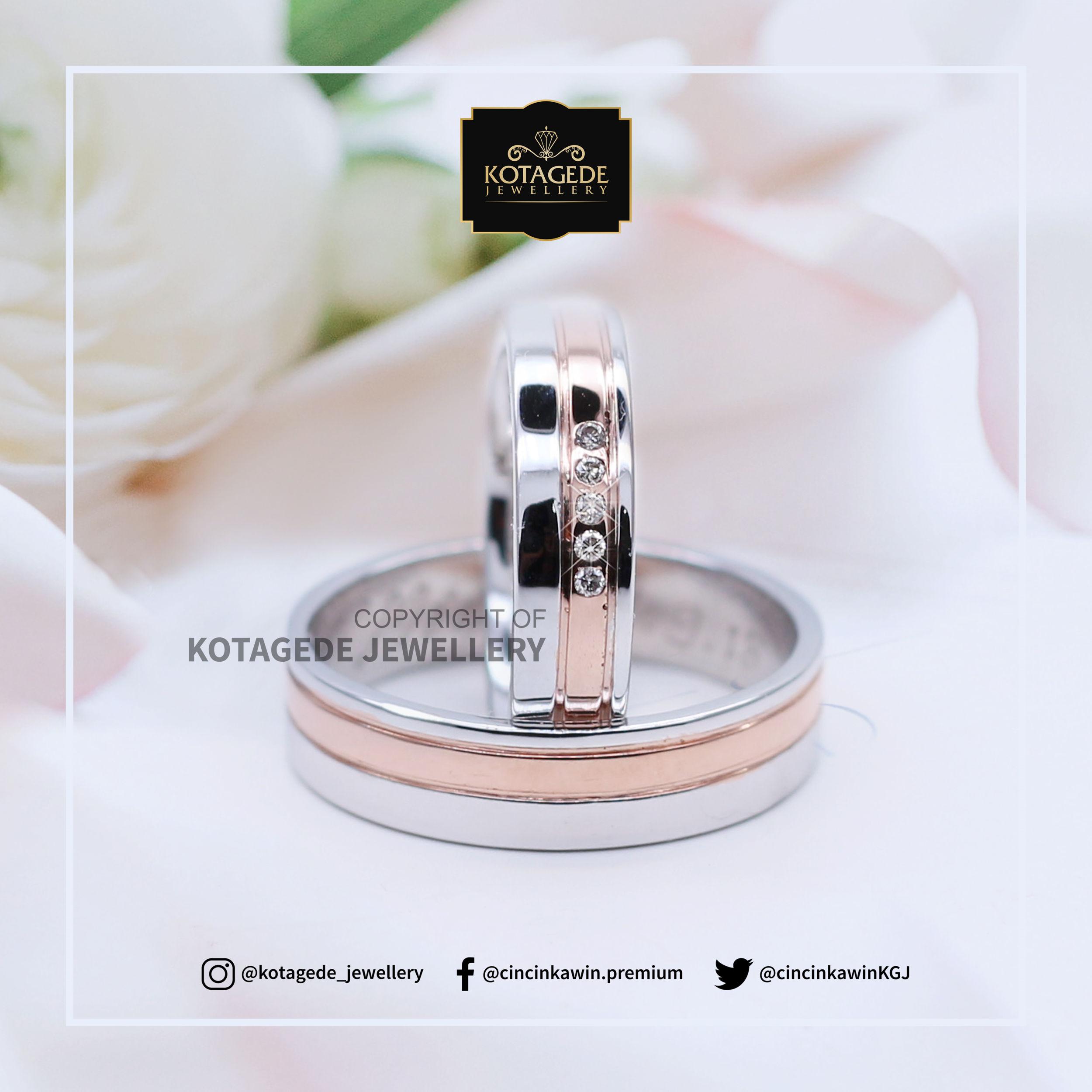 Cincin Kawin Tunangan Platinum Rose Gold Simpel PT0031RG