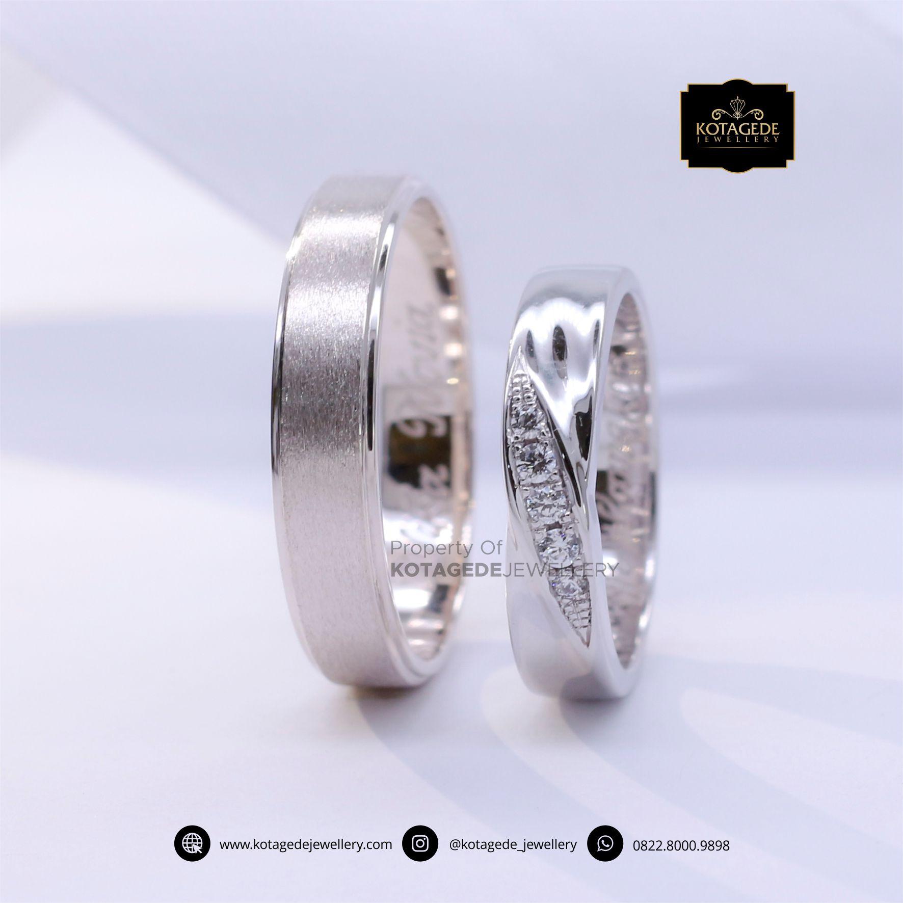 Cincin Kawin Tunangan Palladium Emas Putih PD0059WG