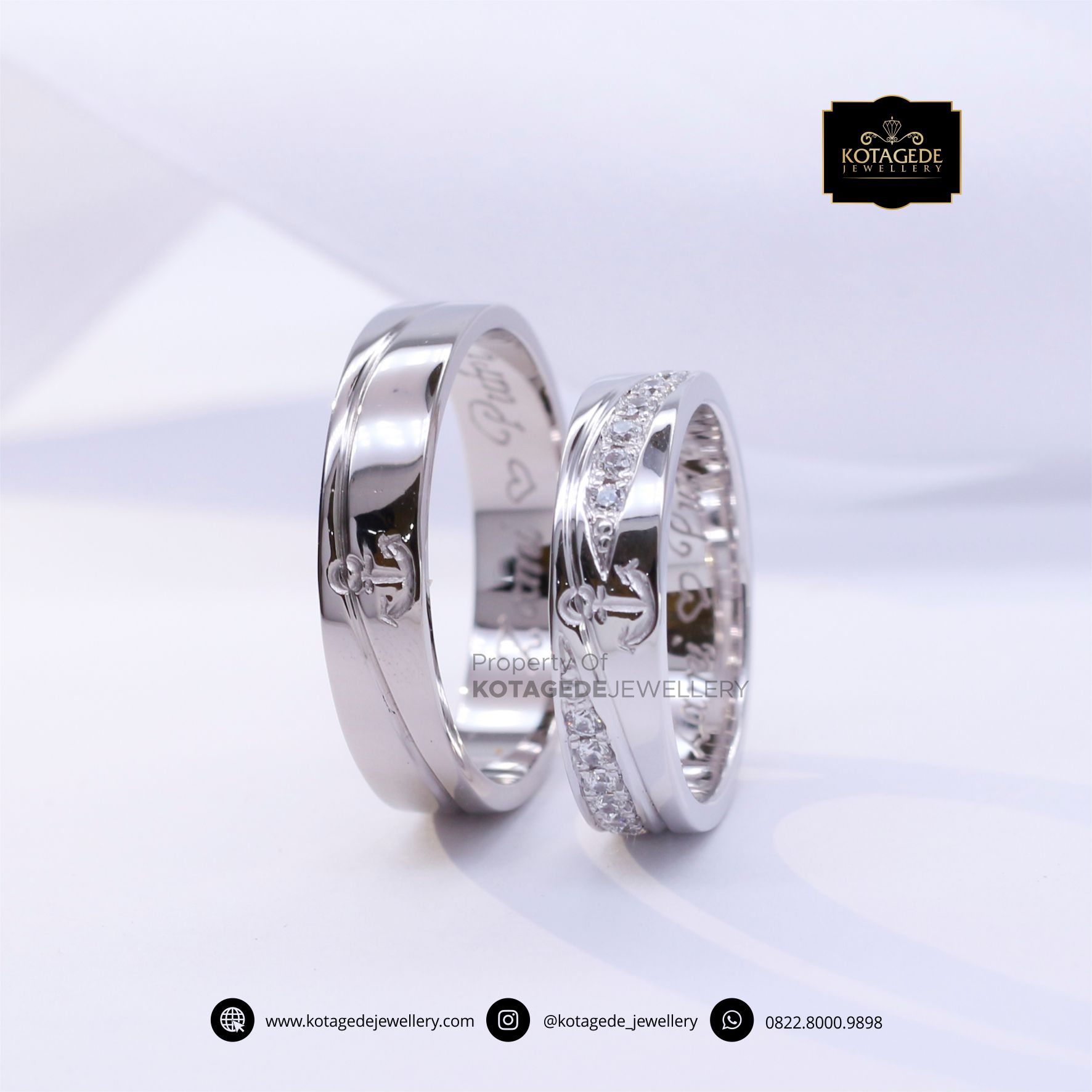 Cincin Kawin Tunangan Platinum Emas Putih Motif Jangkar PT0061WG