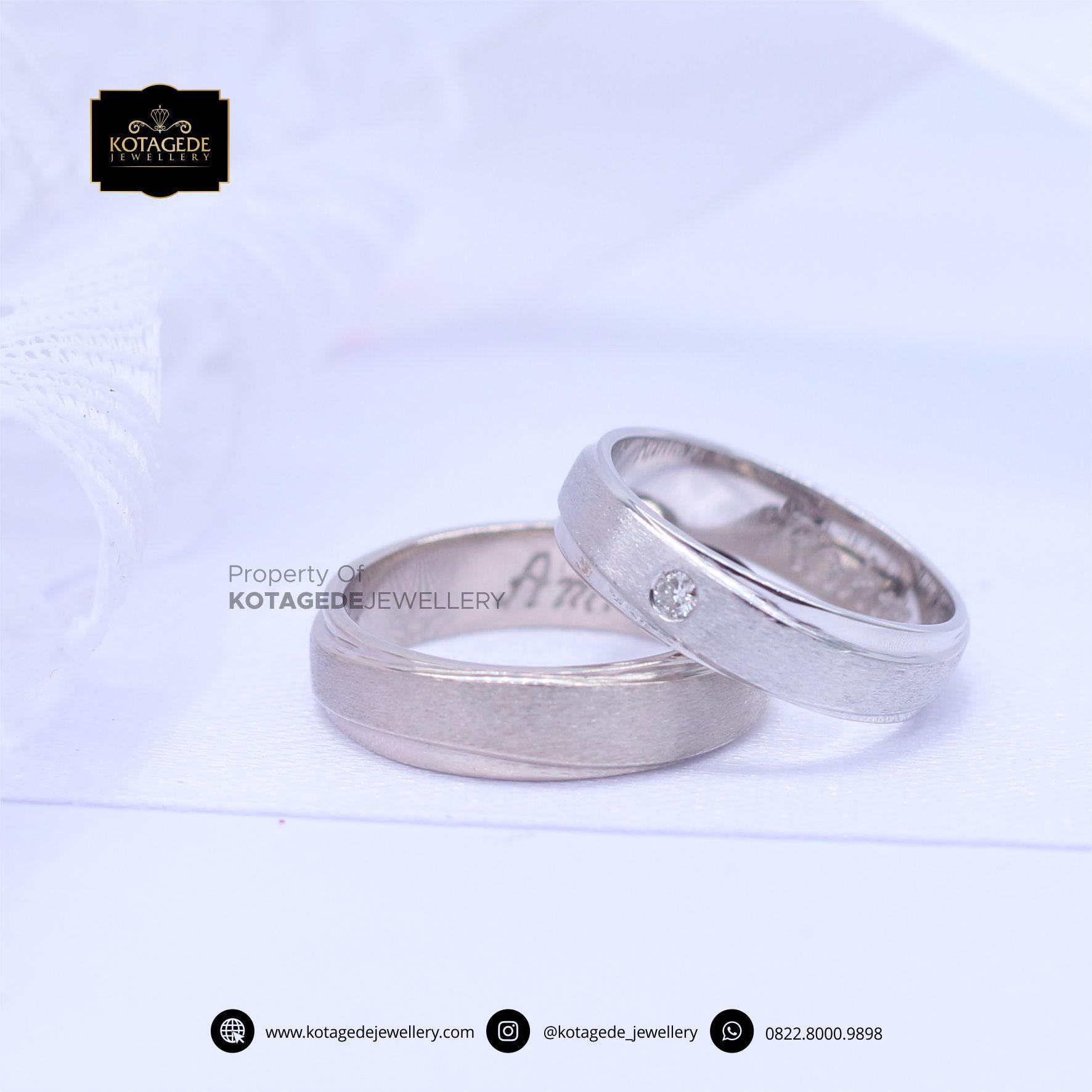 Cincin Kawin Tunangan Platinum Emas Putih Premium PT0059WG