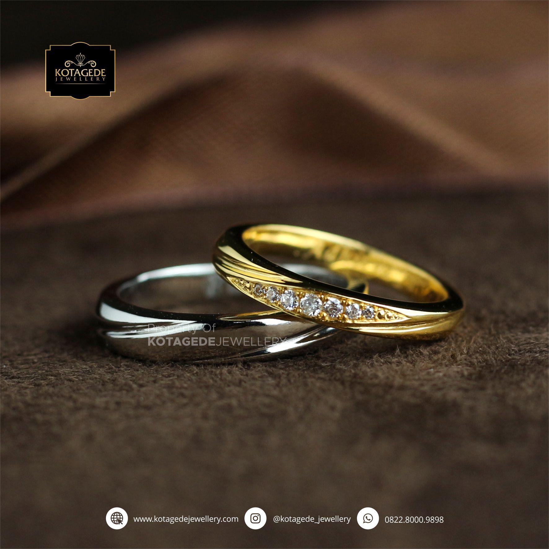 Cincin Kawin Tunangan Palladium Emas Kuning Couple PD0073YG