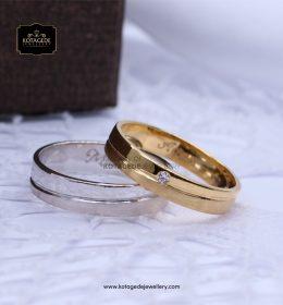 Cincin Kawin Tunangan Palladium Emas Kuning Couple PD0082YG