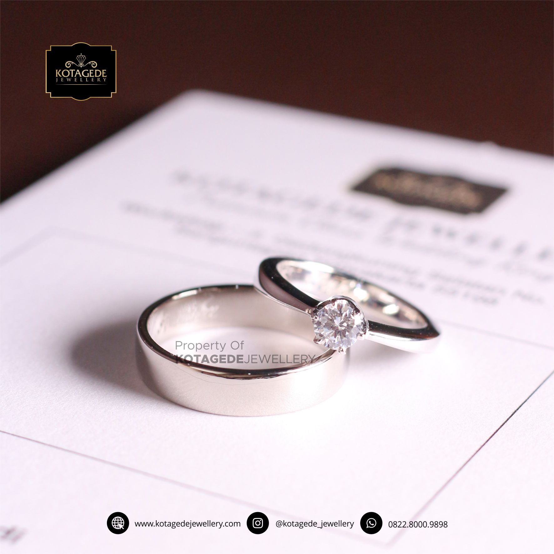 Cincin Kawin Tunangan Platinum Diamond Simple PT0075PT