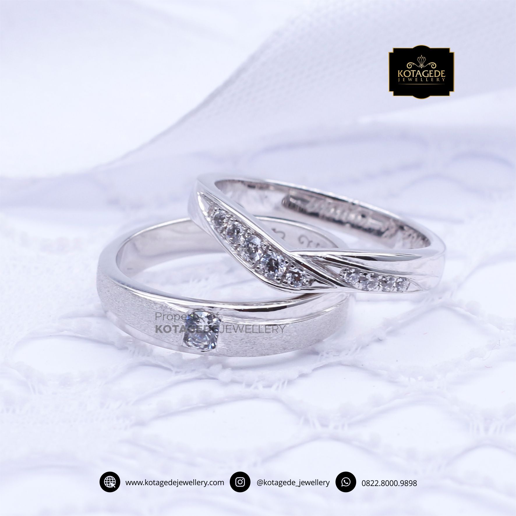 Cincin Kawin Tunangan Platinum Emas Putih Elegant PT0094WG