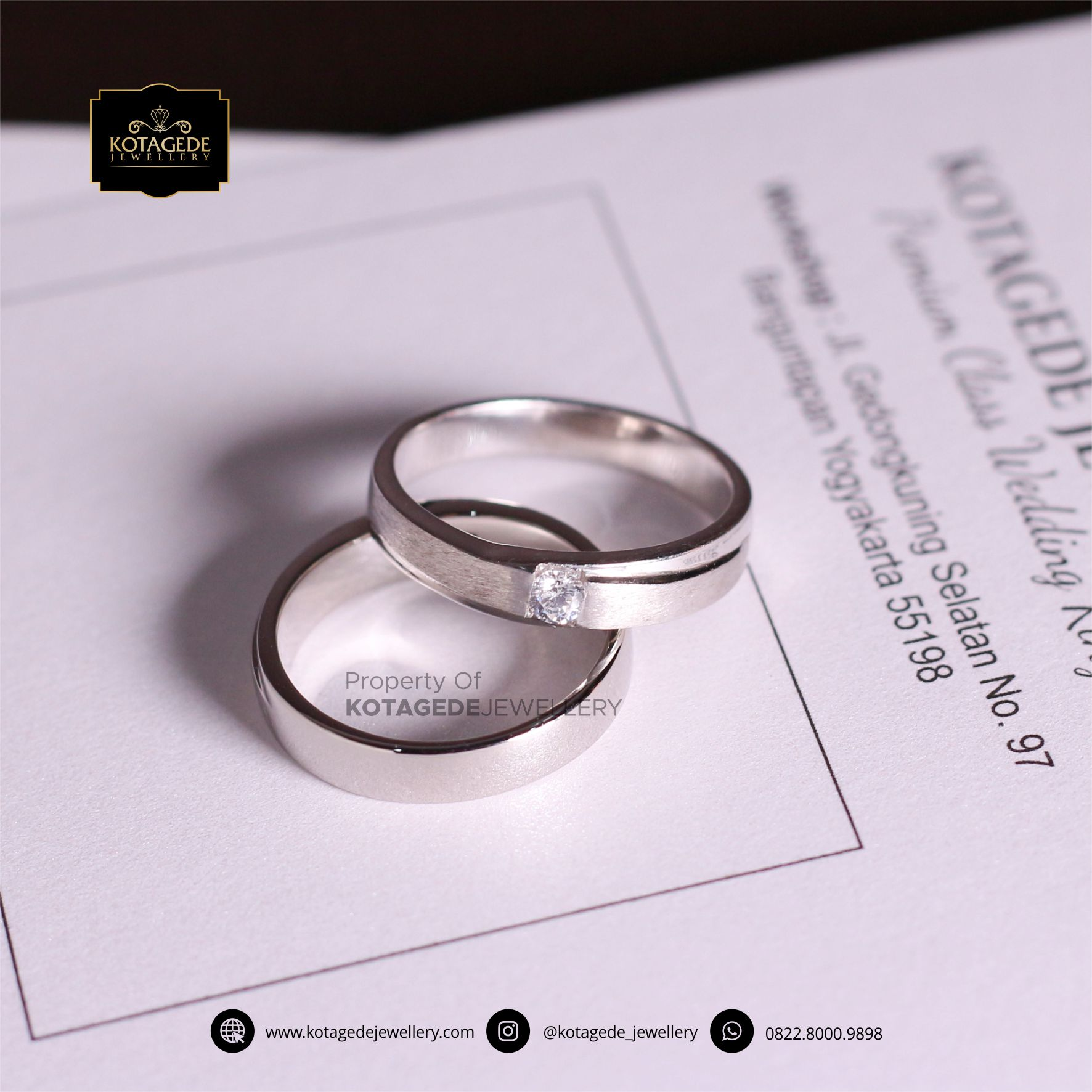 Cincin Kawin Tunangan Platinum Palladium Couple PT0076PD