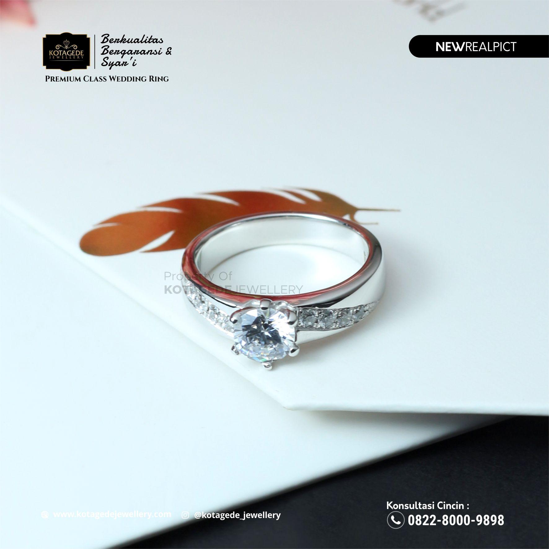 Cincin Kawin Tunangan Emas Putih Premium Diamond WG0099