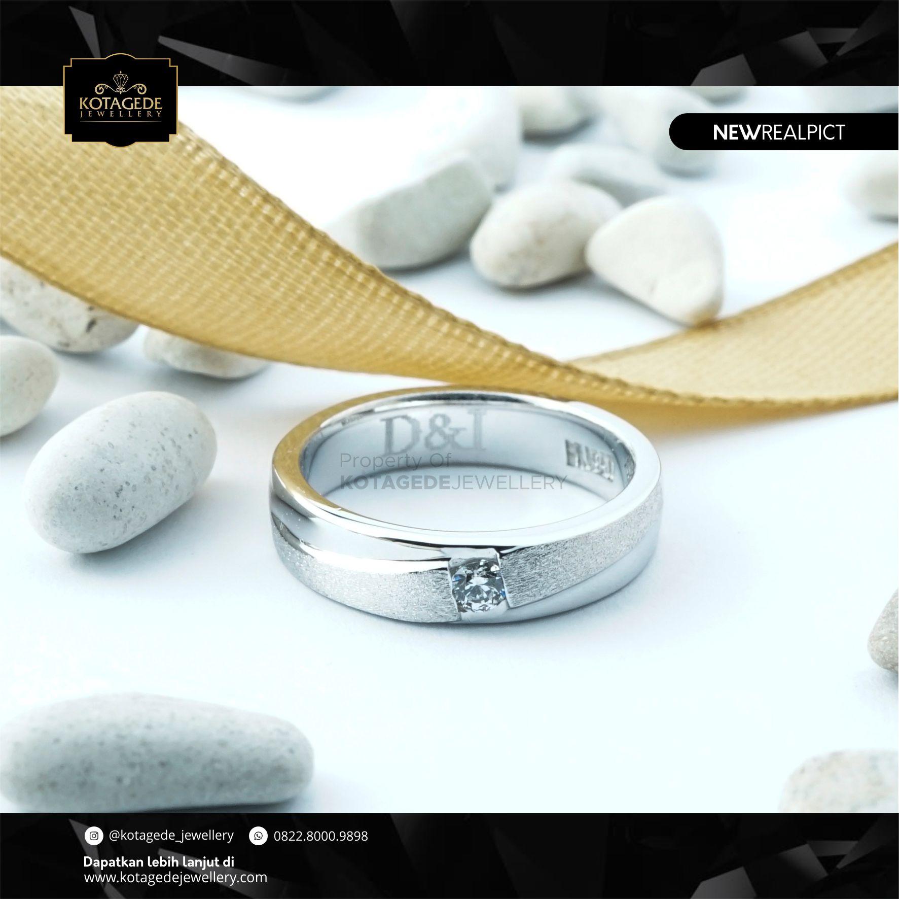 Cincin Kawin Tunangan Emas Putih Standar WG0111