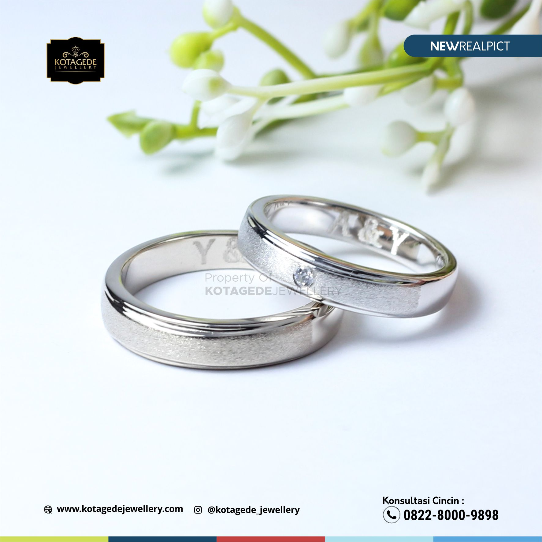 Cincin Kawin Tunangan Palladium Doff Couple PD0104PD