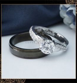 Cincin Kawin Tunangan Palladium Emas Putih PD0140WG