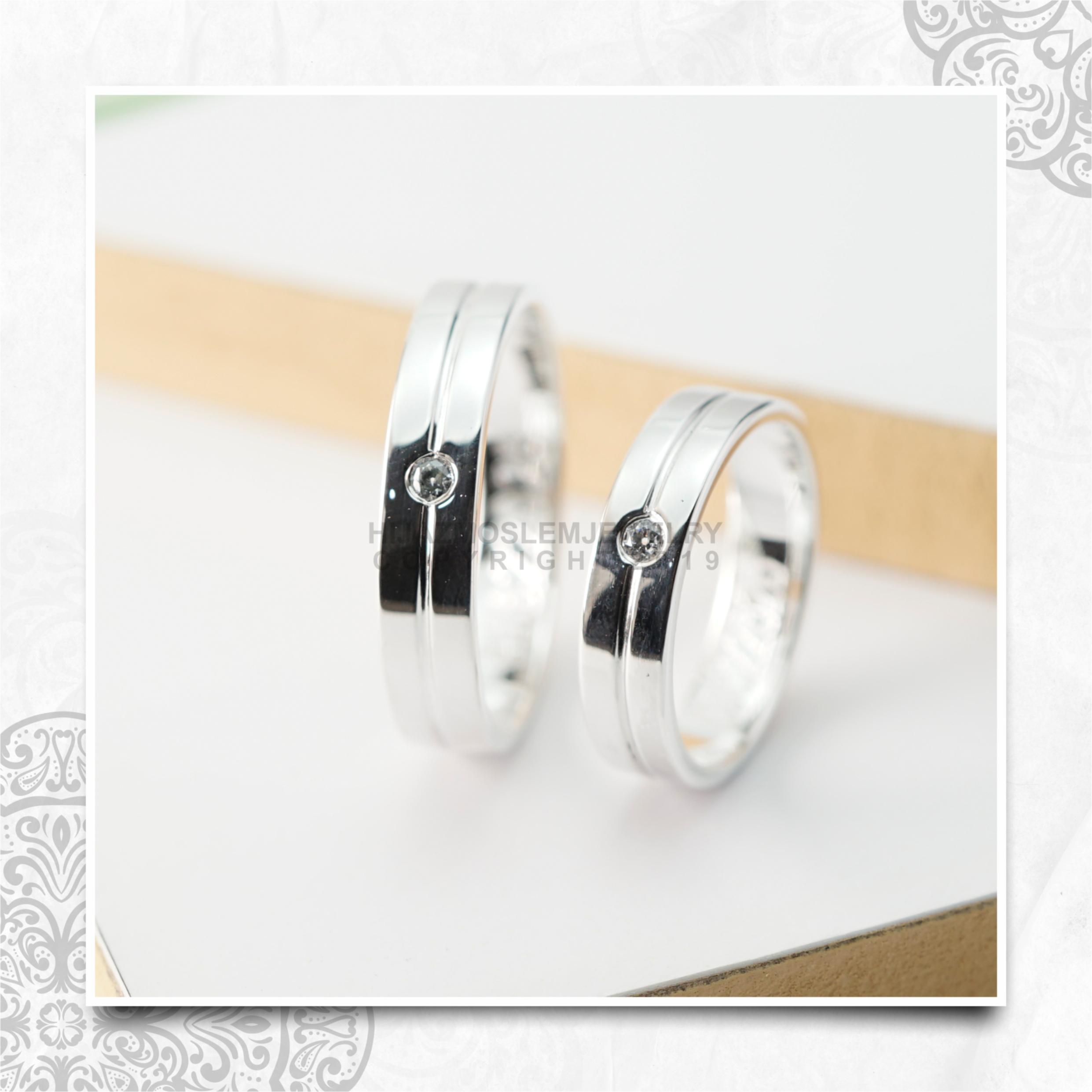Cincin Kawin Tunangan Platidium Emas Putih PTD0144WG