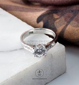 Cincin Kawin Tunangan Emas Putih Solitaire WG0149