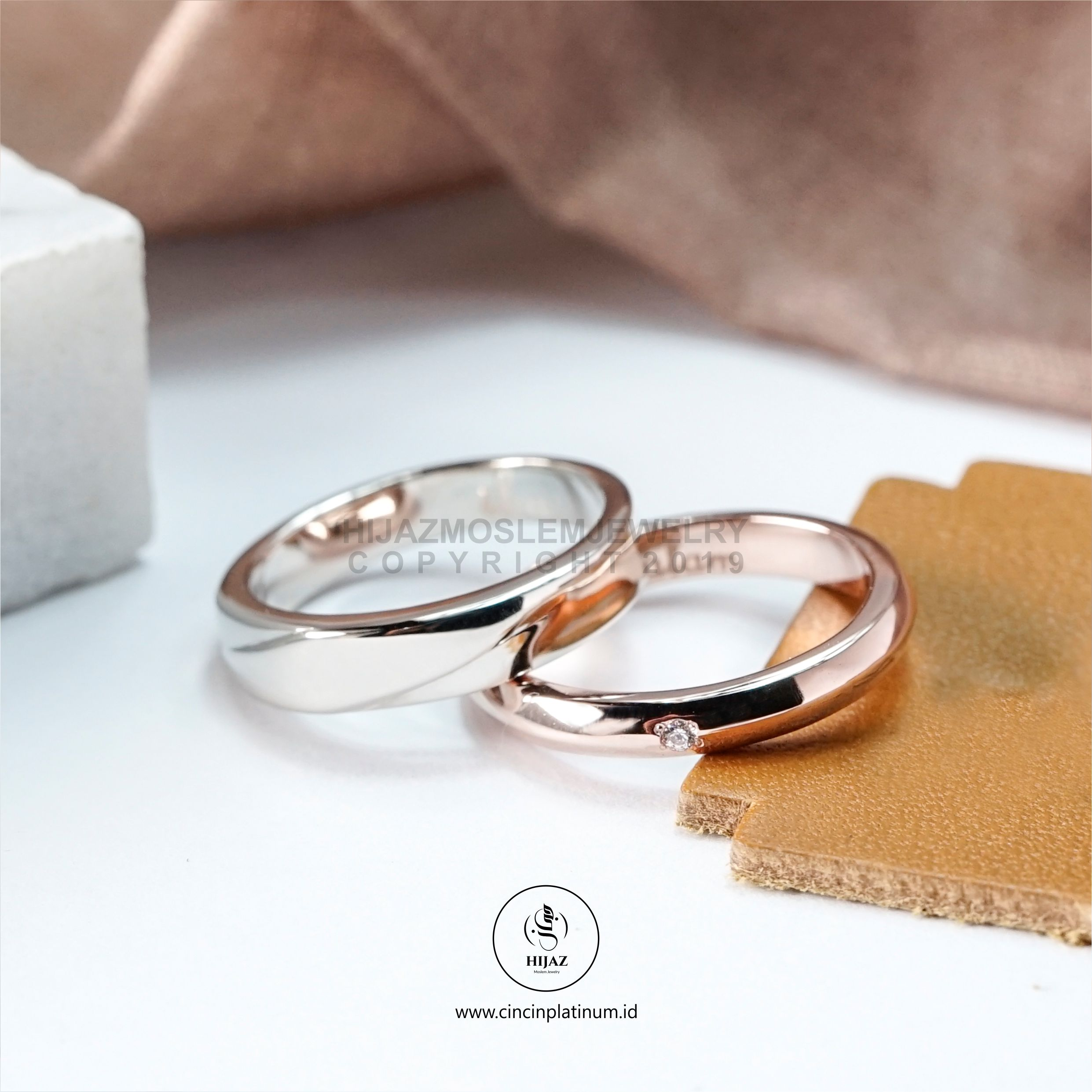 Cincin kawin tunangan platidium rosegold PTD0146RG