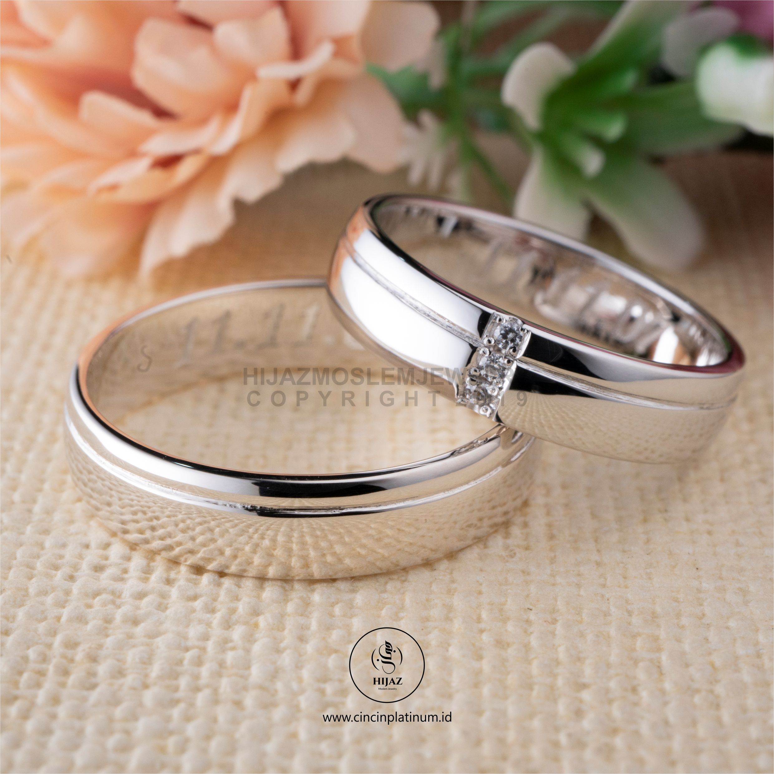 Cincin Kawin Tunangan Emas Putih Couple Simpel WG0143WG