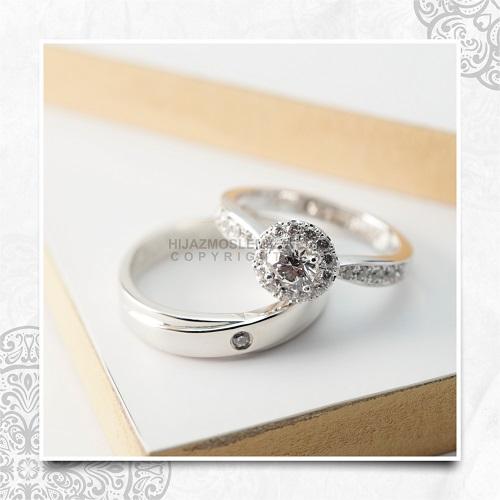 Cincin Kawin Tunangan Emas Platidium Emas Putih PTD0147WG