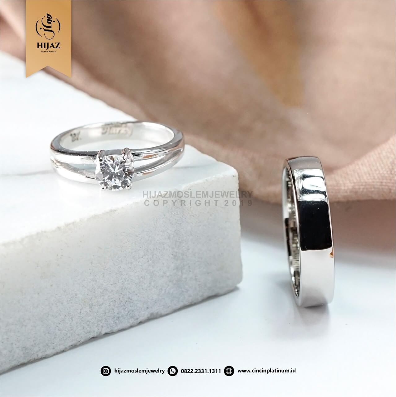Cincin Kawin Couple Emas Putih Simpel WG0159WG