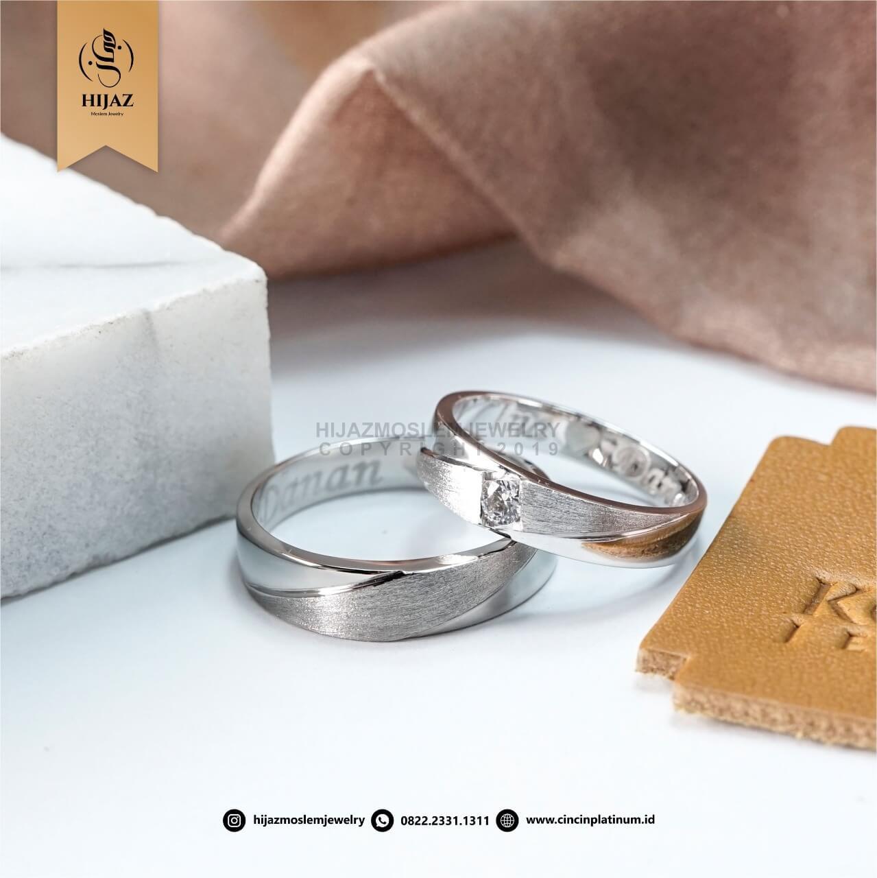 Cincin Kawin Tunangan Emas Palladium Emas Putih PD0157WG