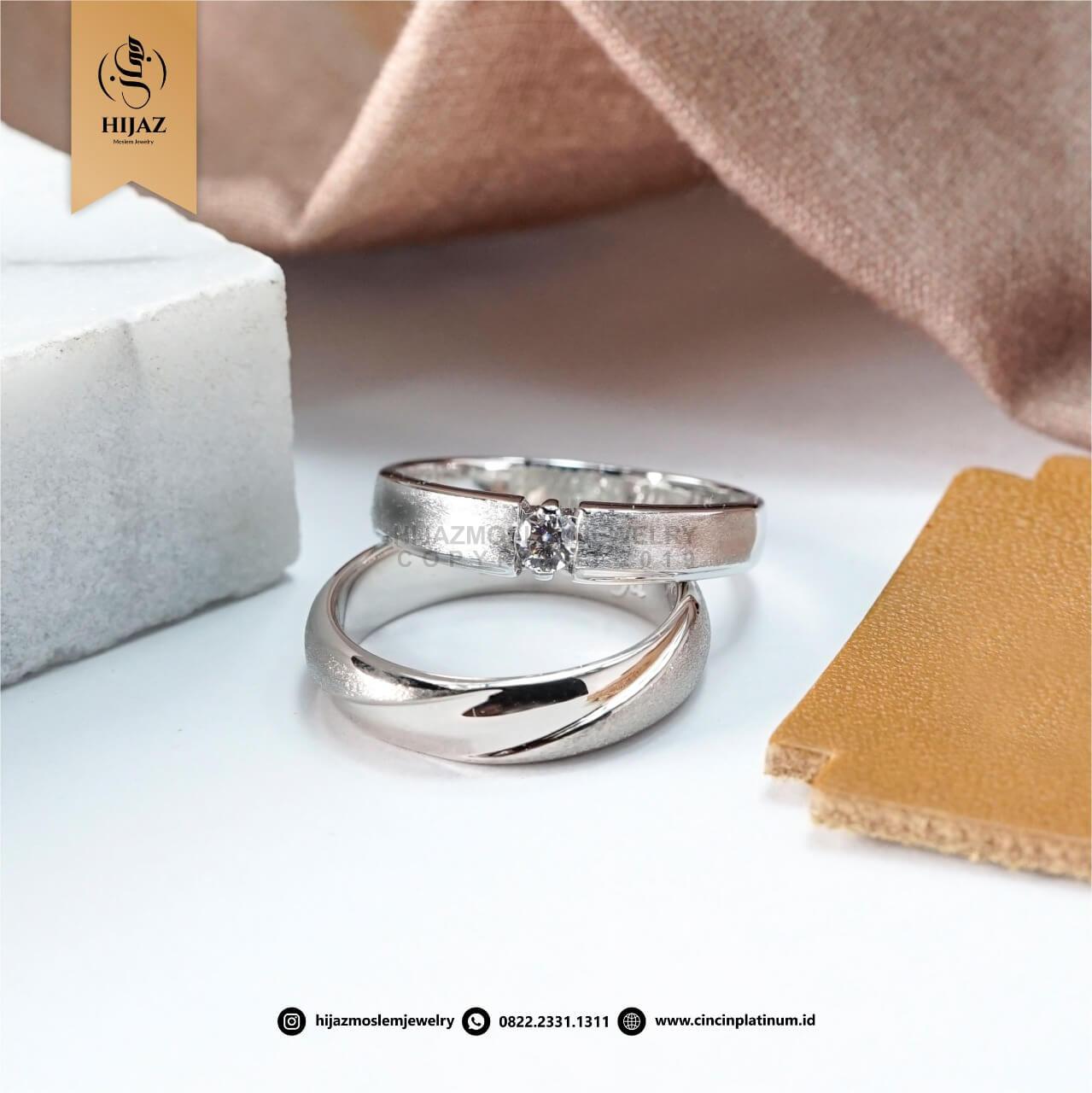 Cincin Kawin Tunangan Emas Platidium Emas Putih PTD0162WG
