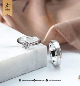 Cincin Kawin Tunangan Palladium Emas Putih Simpel PD0156WG