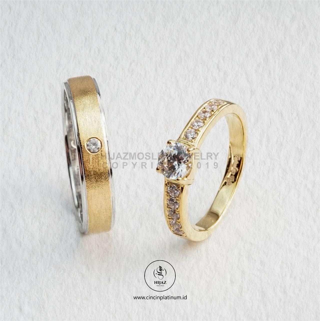 Cincin Kawin Tunangan Emas Palladium Emas Kuning PD0169YG