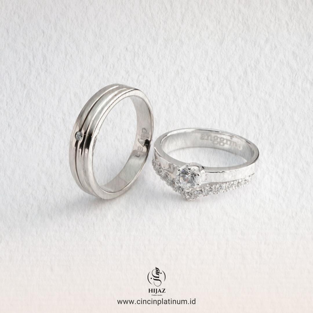 Cincin Kawin Tunangan Palladium Emas Putih PD0167WG