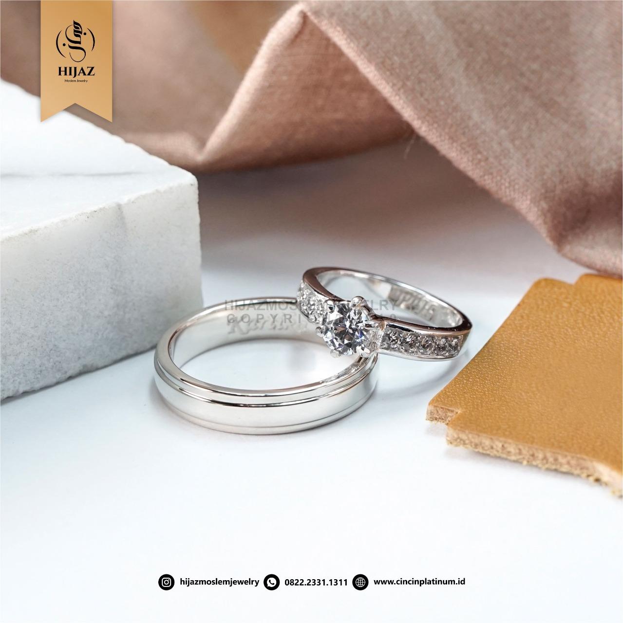 Cincin Kawin Tunangan Palladium Couple AG0164AG