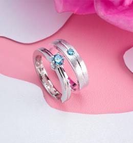 Cincin Couple simpel permata biru PTD0173WG\